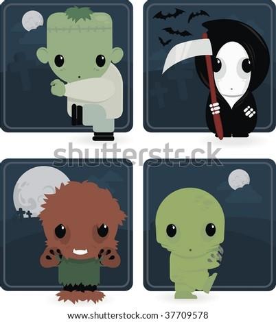 cute monster illustration - stock vector