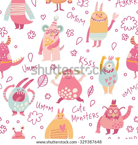 Cute monster. Lovely seamless pattern for children designs. Sweet smiling creatures in warm colors in vector. Awesome childish background