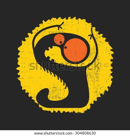 Cute monster on retro grunge Postage Stamp. Cartoon illustration. Vintage postage stamp. Vector illustration. - stock vector