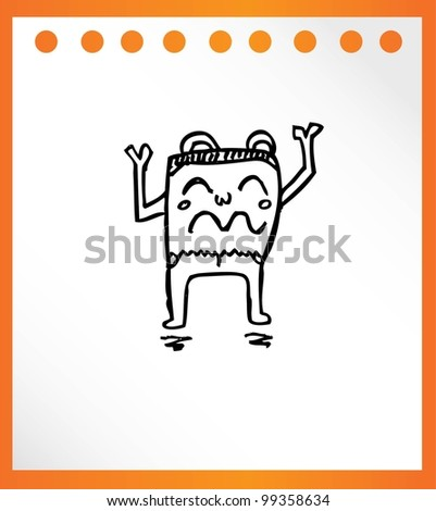 cute monster retro hand drawn - vector illustration - stock vector