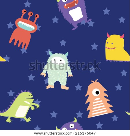 Cute monster seamless pattern