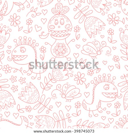 Cute monster vector seamless pattern. Funny background with monsters and flowers.