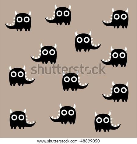 cute monster wallpaper - stock vector