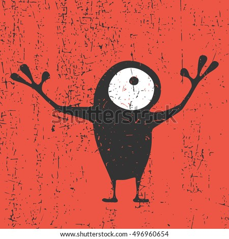 Cute monster with emotions on grunge red background, cartoon illustration.