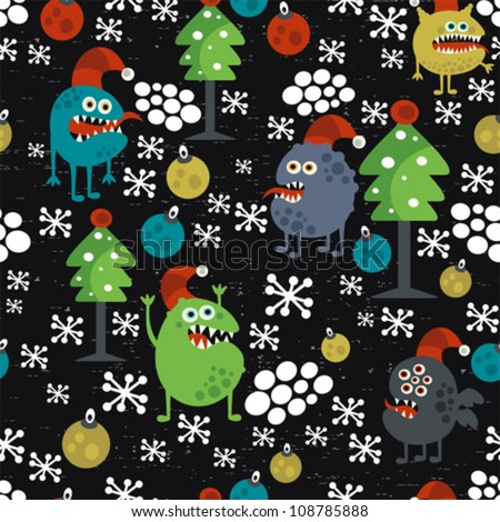 Cute monsters and Christmas seamless pattern. Vector texture. - stock vector