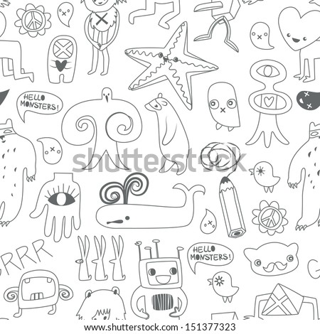 Cute monsters and freaks. Seamless background. Set 9. Black-white. Vector illustration