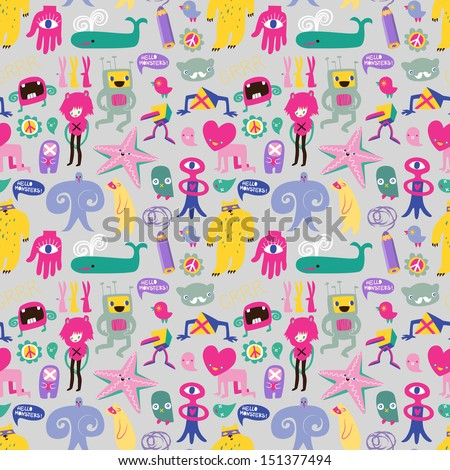 Cute monsters and freaks. Seamless background. Set 7. Vector illustration - stock vector