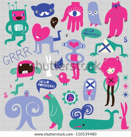 Cute monsters and freaks. Set 2. Vector illustration - stock vector