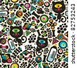 Cute monsters cats seamless pattern. Vector colorful texture for you background. - stock photo