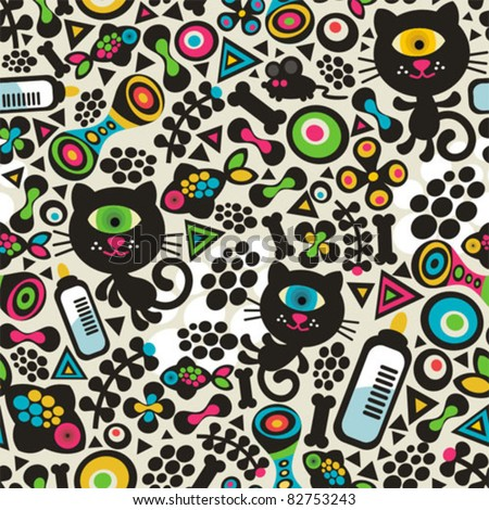 Cute monsters cats seamless pattern. Vector colorful texture for you background. - stock vector