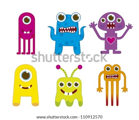 cute monsters isolated over white background. vector illustration - stock vector