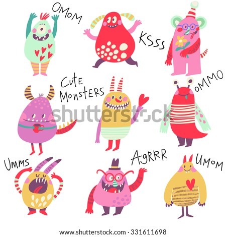 Cute monsters. Lovely monster set for children designs. Sweet smiling creatures in warm colors in vector. Awesome childish collection