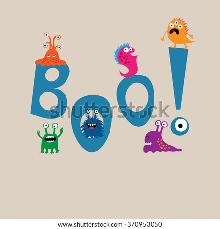 Cute monsters on background of the word boo - stock vector