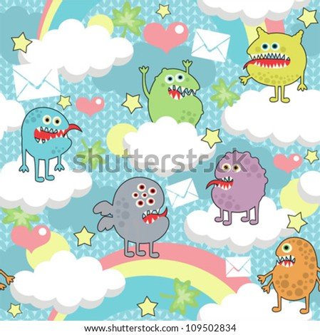 Cute monsters on clouds seamless texture with envelopes. Vector pattern with microbes. - stock vector
