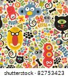 Cute monsters seamless pattern. Vector party texture for you background. - stock photo