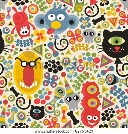 Cute monsters seamless pattern. Vector party texture for you background. - stock vector