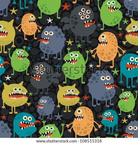 Cute monsters seamless texture with stars. Vector pattern with space aliens. - stock vector