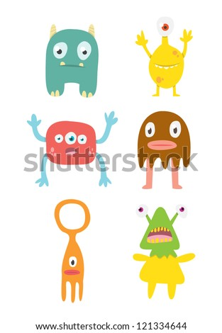 Cute Monsters Set #2 - stock vector