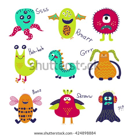 Cute monsters set. Collection of cartoon monster characters isolated on white background. Vector illustration.  - stock vector
