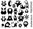 Cute monsters set. Funny fantasy creatures - stock vector