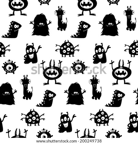 Cute monsters silhouettes seamless pattern - stock vector