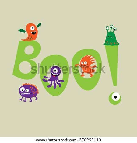 Cute monsters with a  word boo - stock vector