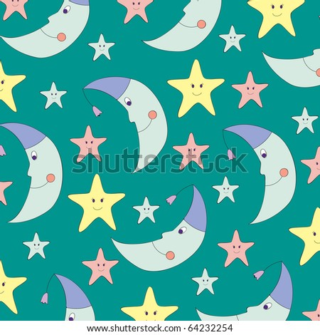 Cute moon and star background - stock vector