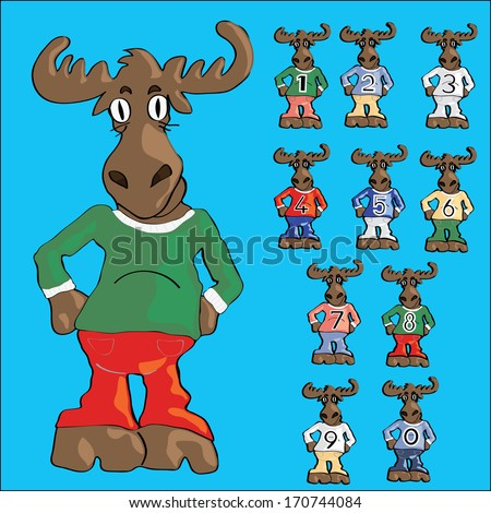 Cute moose cartoon in jeans and ten little mooses with numbers on t-shirts - stock vector