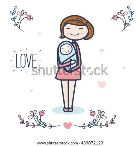 Cute mother and baby vector illustration with flowers and hearts. Postcard design. Love.