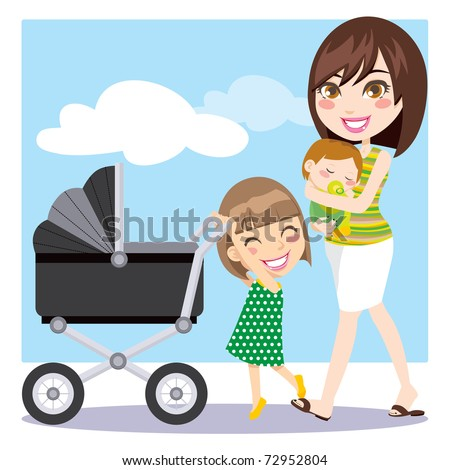 Cute mother walking with son on her arms while daughter is pushing a baby carriage - stock vector