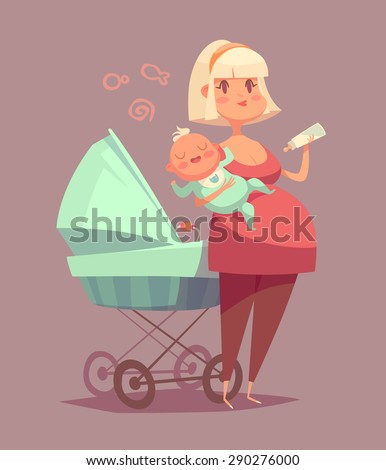 Cute mother with child. Isolated vector illustration. - stock vector