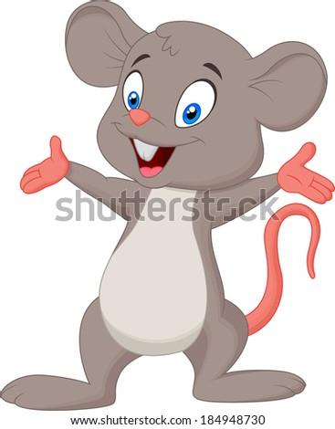 Cute mouse cartoon presenting - stock vector