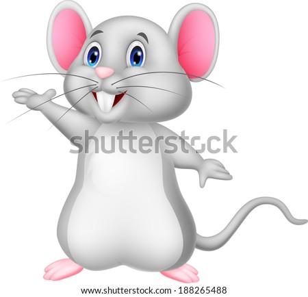 Cute mouse cartoon waving  - stock vector