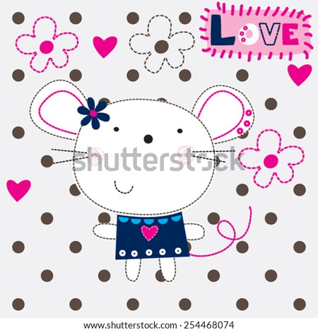 cute mouse girl cartoon with flowers vector illustration - stock vector
