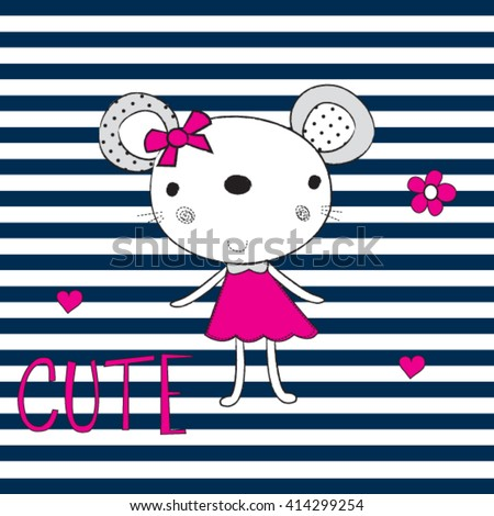 cute mouse girl on striped background, T-shirt design for kids vector illustration - stock vector