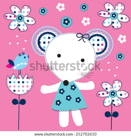 cute mouse girl with bird vector illustration - stock vector