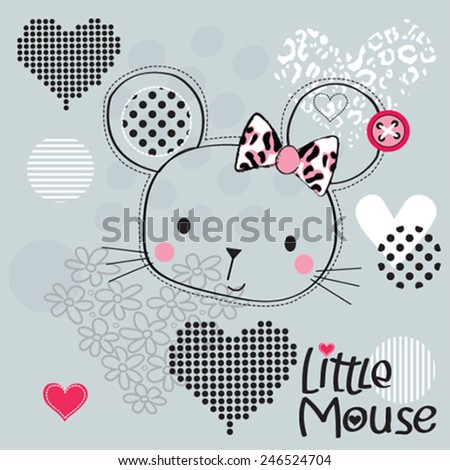 cute mouse head with hearts vector illustration - stock vector