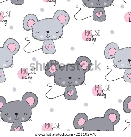 cute mouse pattern vector illustration - stock vector