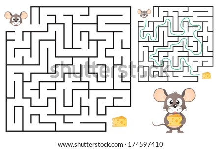 Cute Mouse's Maze Game (help mouse to find his cheese) Maze puzzle with solution. Vector illustration - stock vector
