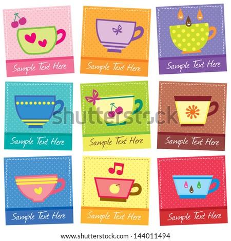 cute mugs layout design - stock vector