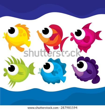 Cute multicolor rainbow vector illustration of cartoon fishes. - stock vector