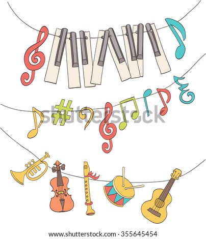 cute musical signs, notes, piano keys, children instruments hanged on a bunting. cartoon vector - stock vector