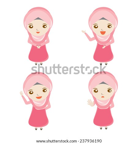 Cute muslim woman cartoon vector design. Standing, Presentation, Okay, Forbidding action. - stock vector