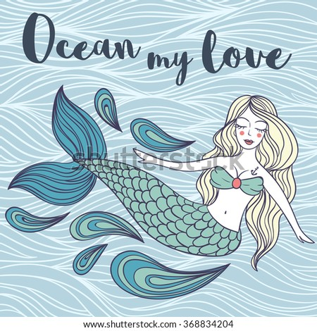 Cute mystical mermaid.Deep ocean.Vector illustration.Waves background. - stock vector