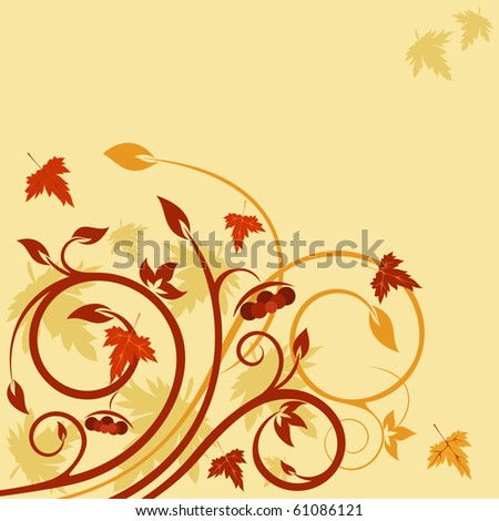 Cute Natural card with autumnal floral composition - stock vector
