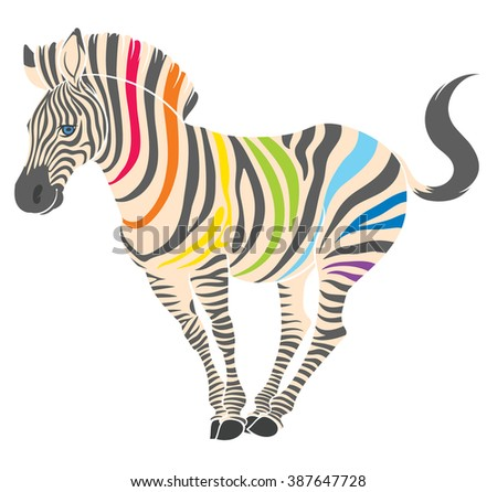 cute naturalistic zebra with rainbow stripes in funny pose  - line drawing hand-drawing sketch - stock vector