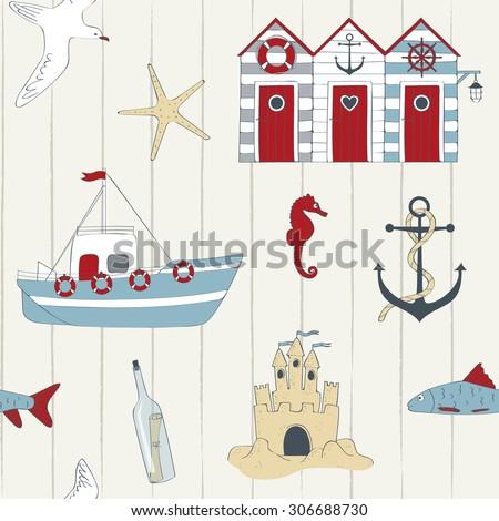 Cute nautical seamless  - stock vector