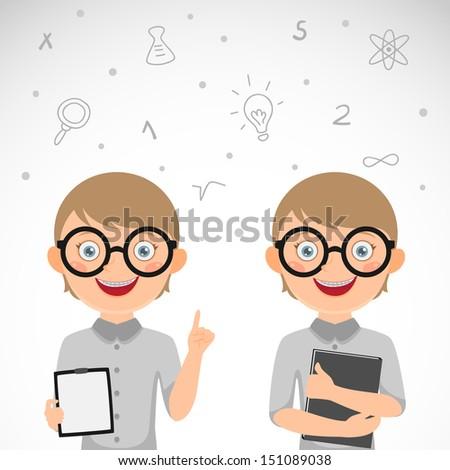 Cute nerdy boy. Schoolboy - stock vector