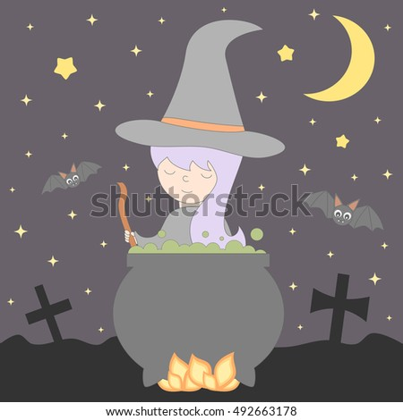 cute nice young cartoon witch cooks a potion in the cauldron in the night halloween vector illustration