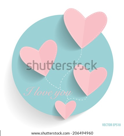 Cute note paper with hearts. Vector illustration. - stock vector